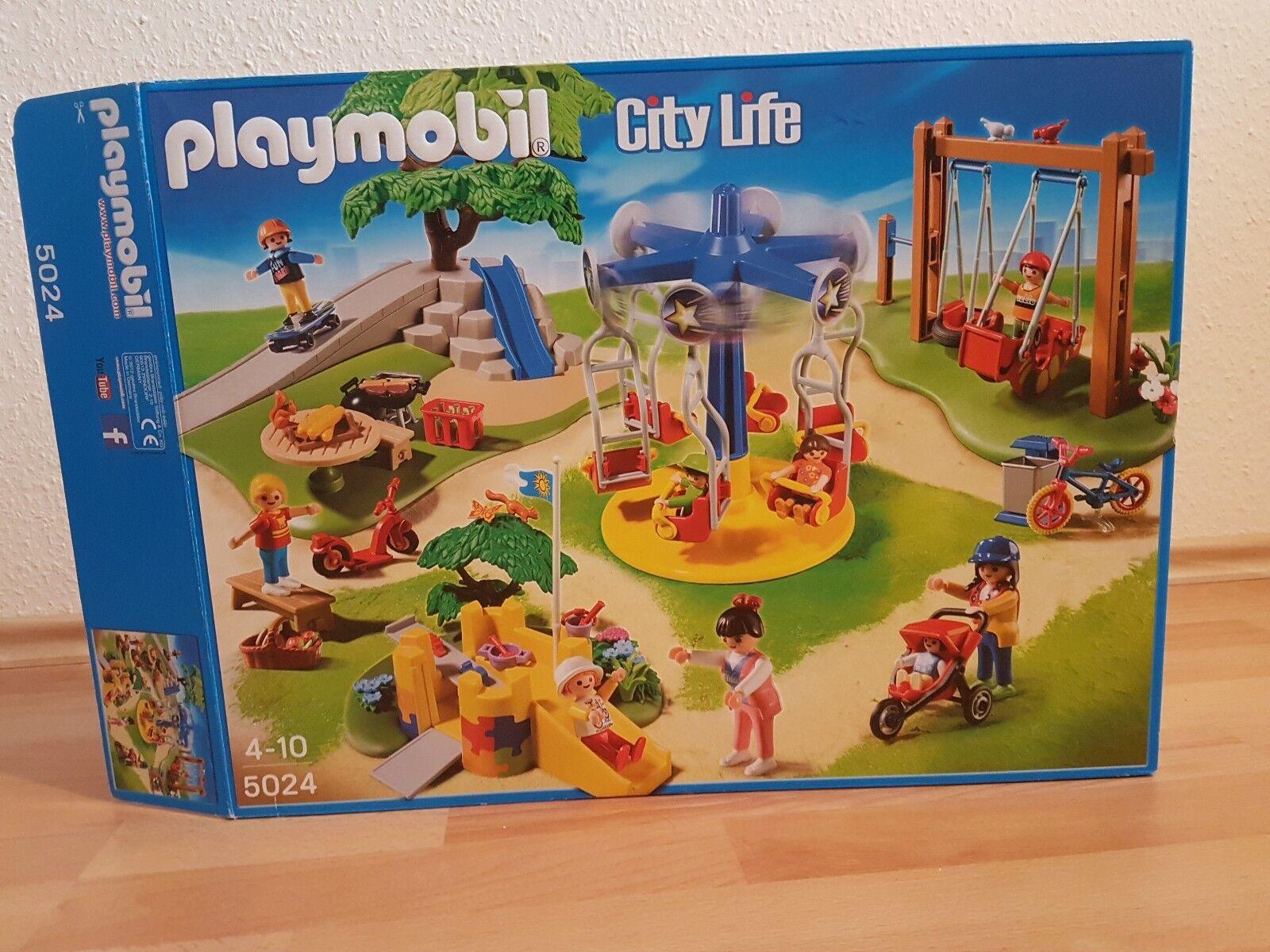 Playmobil 5024 Großer Kinderpielplatz City Life Karussell Schaukel Rutsche. OVP