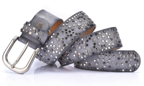 Women/'s Handcrafted Star Rivets Punk Rock Boucle en Métal Cuir Véritable Jean Ceinture