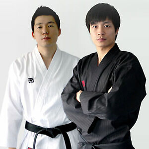 TKD Wrap Suits Mooto Open Uniforms White Black Doboks WTF Taekwondo Martial Arts