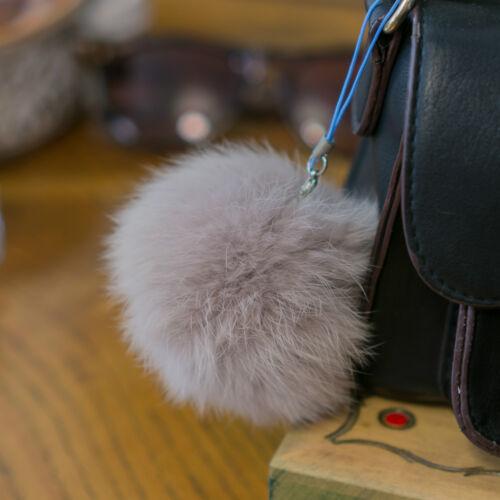 Fourrure véritable de noel à pompon 8 CM Fluffy Furry Arbre De Noël Babiole Charme Balle Pompon