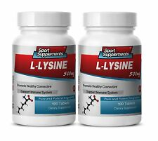 L-Lysine Amino Acid 500mg. Supports Immune System (2 Bottles, 200 Tablets)
