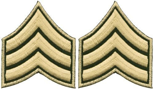 Be05 ARMY SERGENTE distintivo ricamate applicazione STAFFA immagine Militare Patch DIY