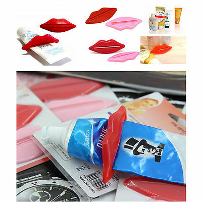 2 pcs Sexy Hot Lip Kiss Tube Dispenser Toothpaste Squeezer Gadget Tool Useful