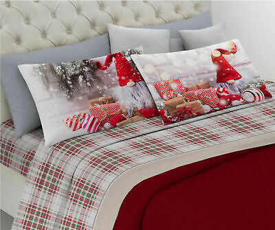 Completo Lenzuola Di Flanella Matrimoniale Caldo Cotone Natalizie Natale Gnomo Ebay