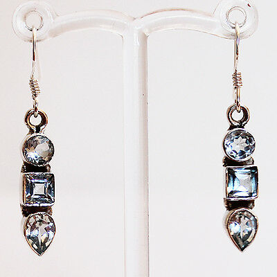 925 Sterling Silver Semi-Precious Blue Topaz Drop Earrings