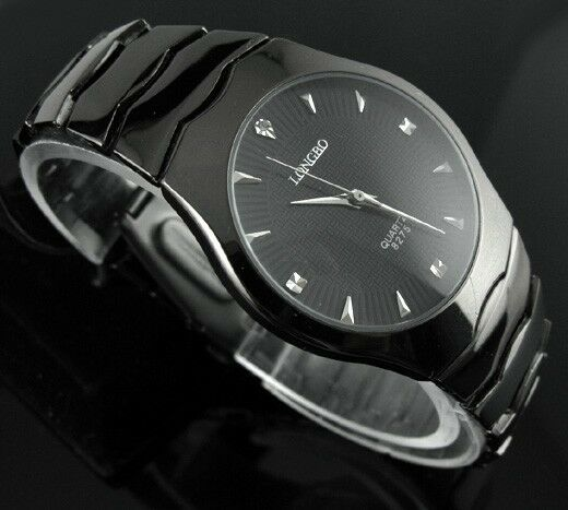 All Black Stainless Steel Mens Wrist Watch Quartz NEW Casual Style