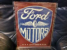 Vintage Ford Model T Pickup Truck Tin Metal Sign Auto Garage Motors Round 1917
