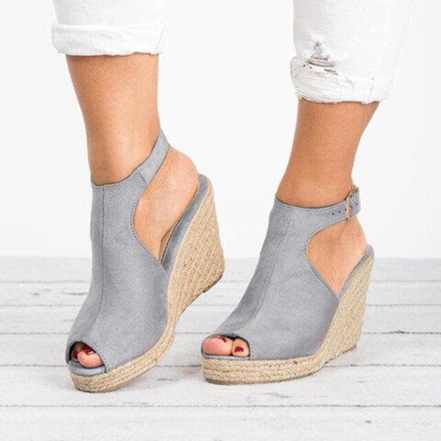 Womens Sandals Wedges High Heels Platform Peep Toe Esparilles Slip On Shoes Size