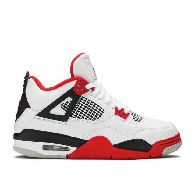 Jordan Air 4 Retro GS Shoes for Kids, Size 4.5 - Black/Red/White