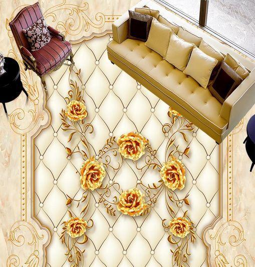 3D Fleur d'Or Fond d'écran étage Peint en Autocollant Art Murale Plafond Chambre Art Autocollant 71b9cf