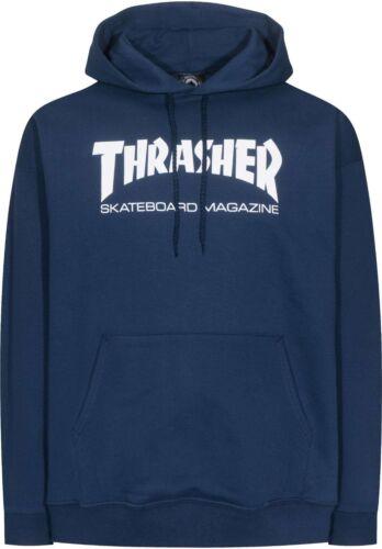 Thrasher SKATE MAG HOODIE Navy Blue White Graphic Pullover Men/'s Sweatshirt