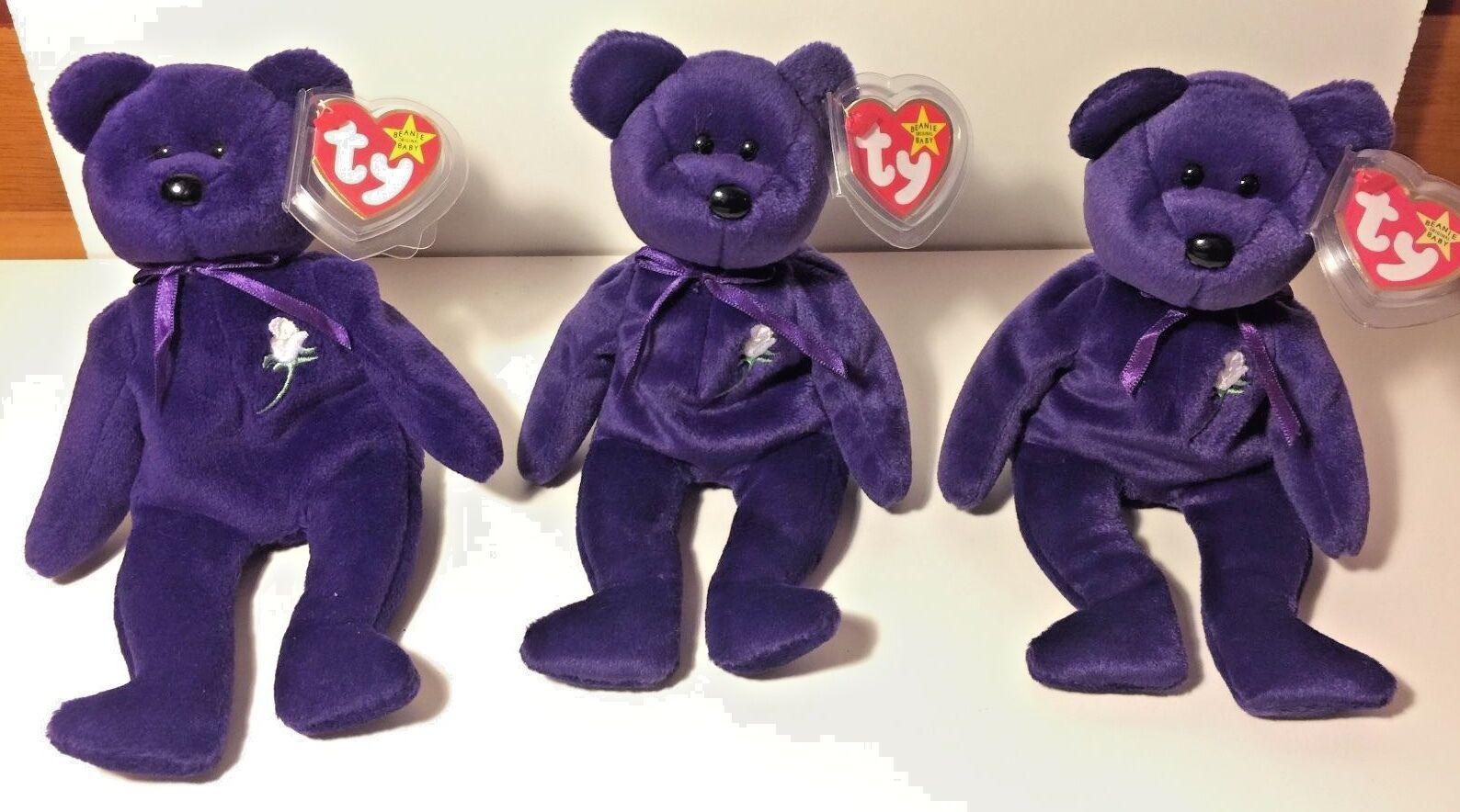 PRINCESS DIANA 1st EDITION BEANIE BABY BEAR Lot 100 *VERY HOT*Three VERY RARE