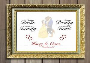 Wedding Beauty And The Beast Him Her Couples Love Anniversary