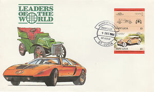 St Lucia 4975 - 1984 CARS - CHRYSLER $3 IMPERF PAIR on FIRST DAY COVER