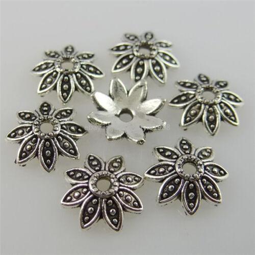 12226 250PCS 7mm Antique Silver Tone Alloy Flower Leaf Spacer Bead End Caps