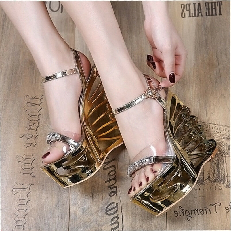 Womens Unique High Heels Butterfly Clear Rhinestone Crystal Platfrom Platfrom Platfrom shoes HOT01 d1ea1d