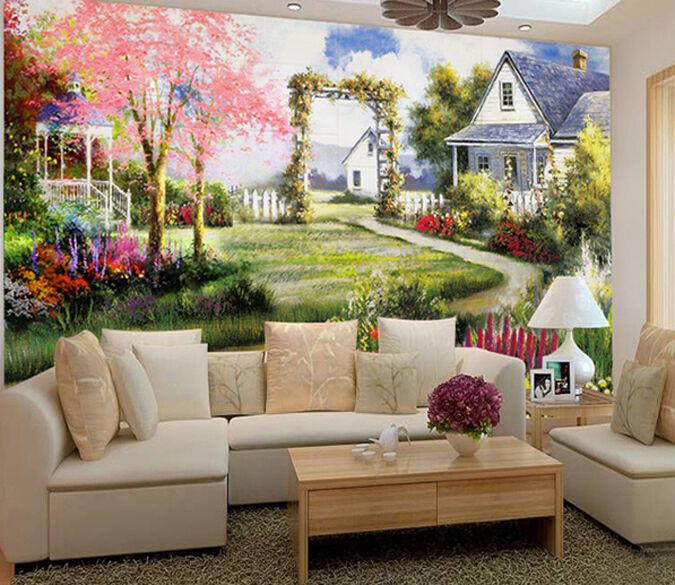 3D Schöne Umgebung, Haus 2556 Fototapeten Wandbild Fototapete BildTapete Familie