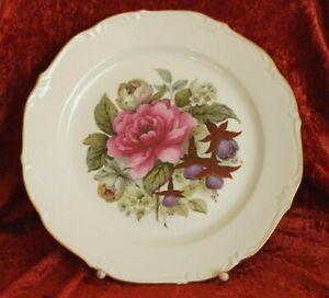 Porzellan-grosser-Teller-Sammelteller-Blumenmotiv-Goldrand-Platte-31-cm-BA-4