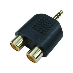 3.5mm Stereo Jack plug to 2 RCA Phono Female Sockets Adaptor Adapter Aux to RCA