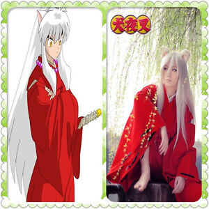 INUYASHA-Bright-Red-Kimono-Costume-Cosplay-Halloween-Adult-Uniform-Red