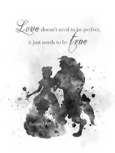 Beauty And The Beast Quote Art Print Disney Princess Gift Love