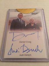 007 James Bond Daniel Craig Judi Dench as M Dual Auto Autograph Case Card