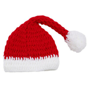 bfee7060774e8 Details about Lovely Newborn Baby Christmas Santa Claus Costume Knit Hat  Photo Prop Outfit UK