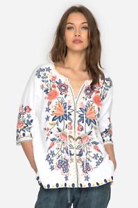 JOHNNY-WAS-Linen-JWLA-Embroidered-TIWA-PEASANT-BLOUSE-V-Neck-M-278