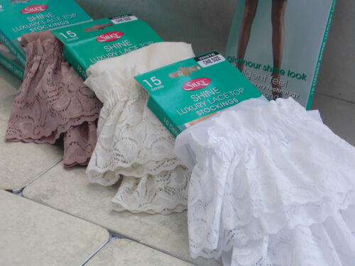 Silky Luxury Bridal Shine Wide Lace Top Stocking Hold Ups White Cream Nude UK