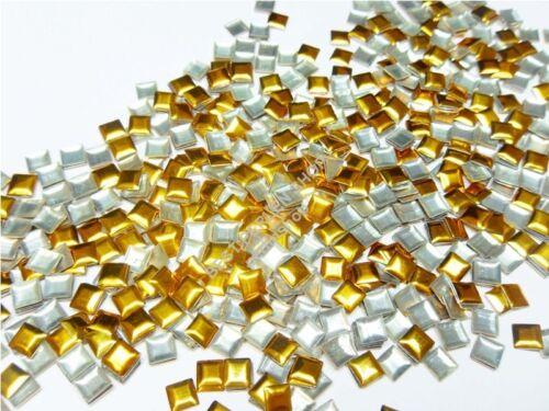 Nailhead Bügelnieten Metall HOTFIX 2000 Stück DIY QUADRATE GOLD 3mm 656
