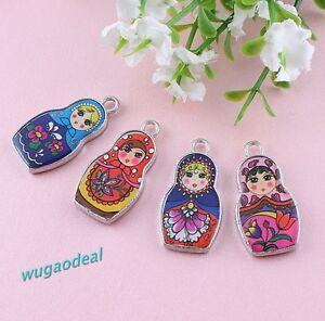 Lots-30-Pcs-Fashion-Two-Sided-Mix-Color-Enamel-Matryoshk-Russian-Doll-Charms
