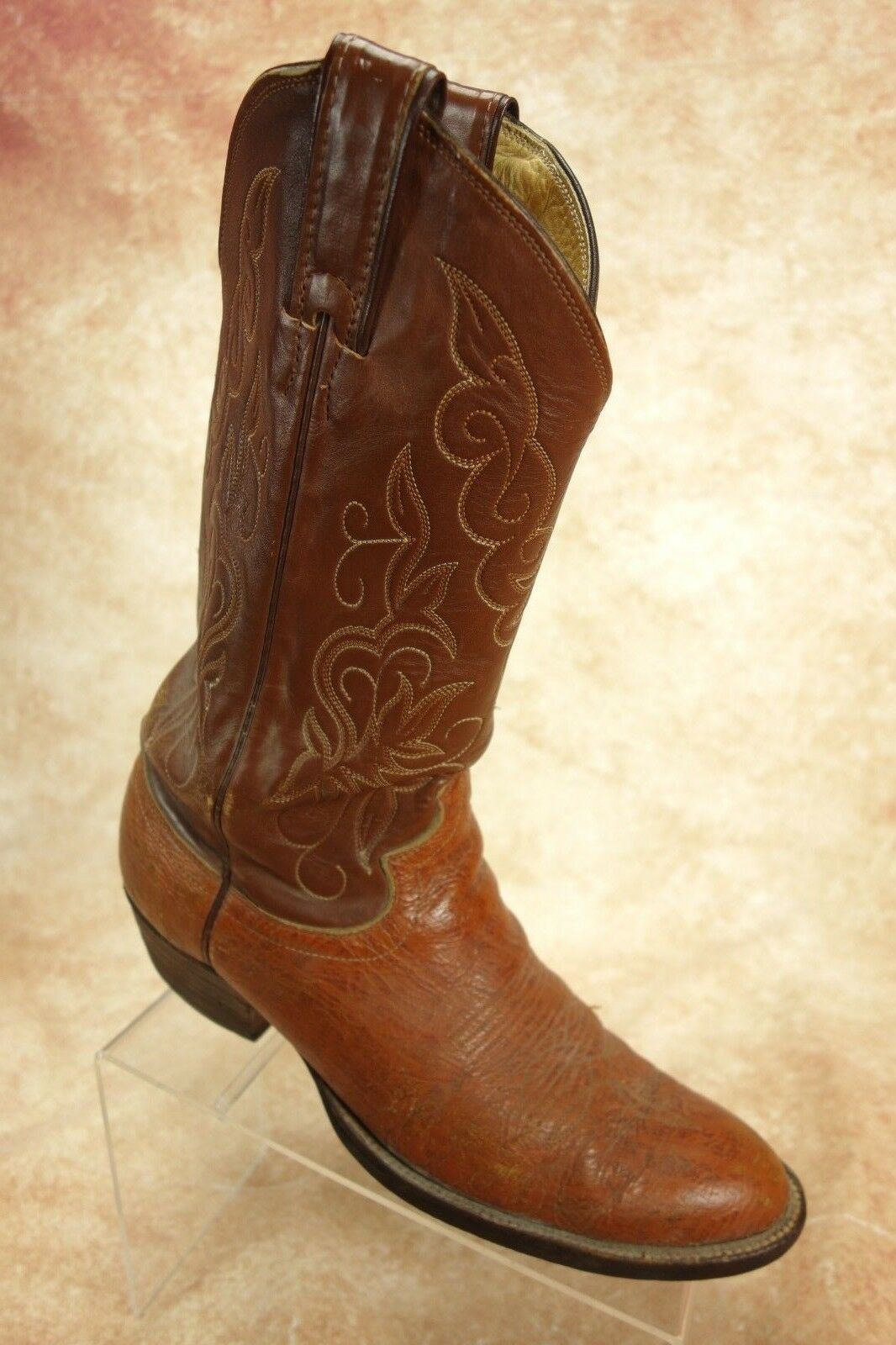 Justin Brown Cognac Antelope Leather Pull On Western Cowboy Boots Mens Size 8.5D