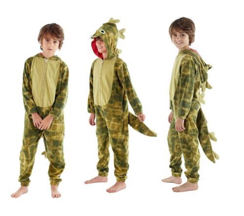 Boys Dragon 1Onesie Fleece Jumpsuit Hooded Novelty Nightwear