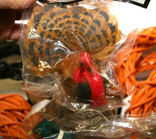"Grapevine Wreaths 534"" and Featherered Turkey and Pheasants 20 piece craft lot"