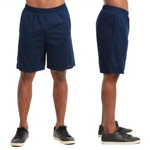Men-Athletic-Long-Mesh-Pocket-Gym-Shorts-Sports-Basketball-Running-Navy-Size-2XL