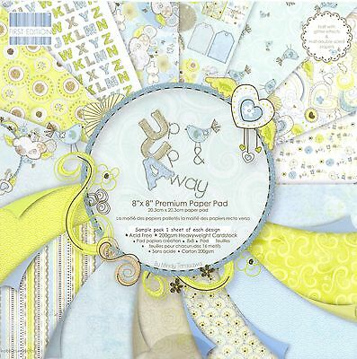 DOVECRAFT UP UP & AWAY PAPER 8 X 8 SAMPLE PACK 1 OF EACH DESIGN - 16 SHEETS