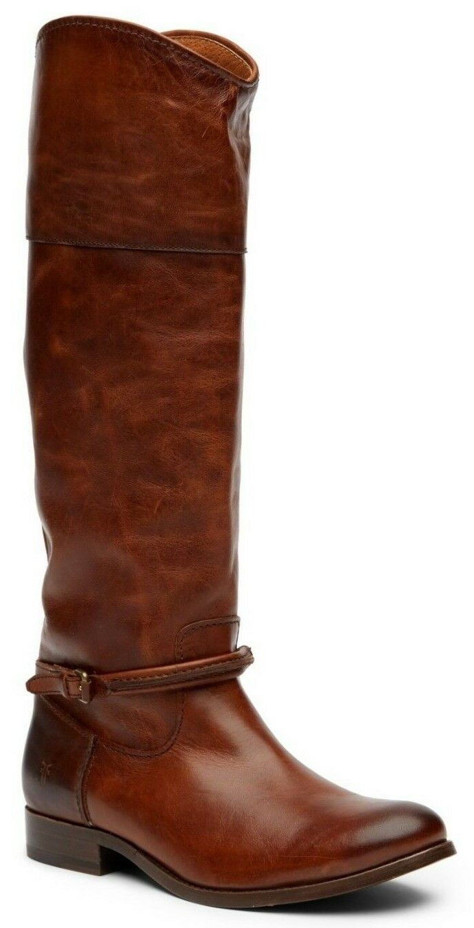Frye Women's Melissa Seam Tall Leather Riding Boots Cognac Brown Size 6.5