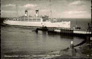 CUXHAVEN-1950-60-Schiff-Dampfer-Steamer-Ship-ITALIA-an-der-034-Alten-Liebe-034-s-w-AK
