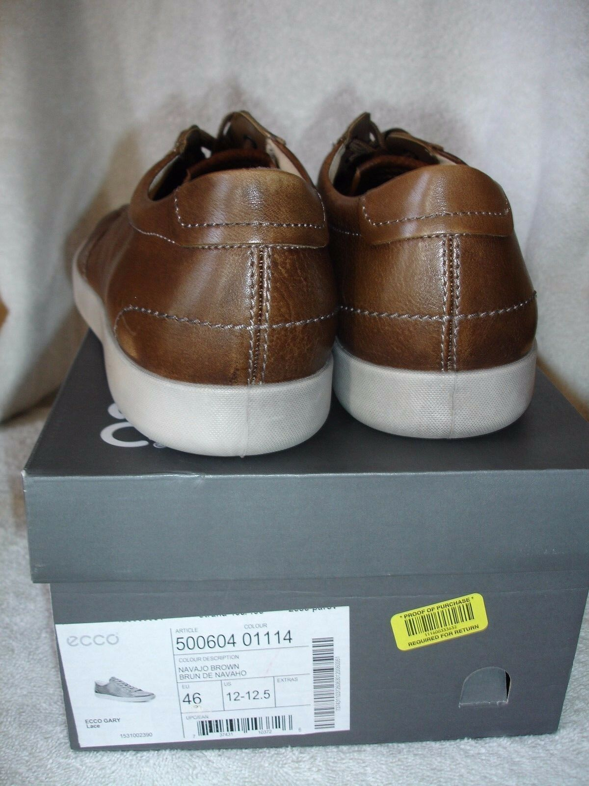 10df128879e1 ECCO Sz 12 to 12.5 EUR 46 Gary Lace Navajo Brown Leather SNEAKERS Mens  Shoes