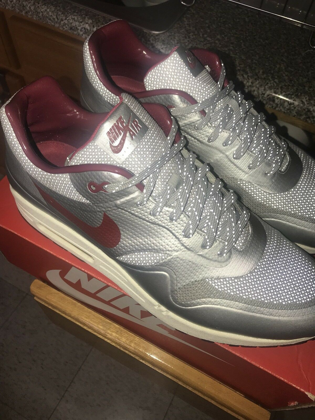 Nike Air Max 1 Hyp QS Silver and Red Sneaker Comfortable