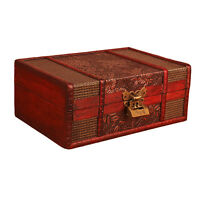 Large Decorative Grape Jewelry Lock Chest Handmade Vintage Wooden Storage Box
