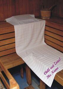 sauna handtuch bestickt mit chill out namen duschtuch tuch badetuch saunatuch ebay. Black Bedroom Furniture Sets. Home Design Ideas