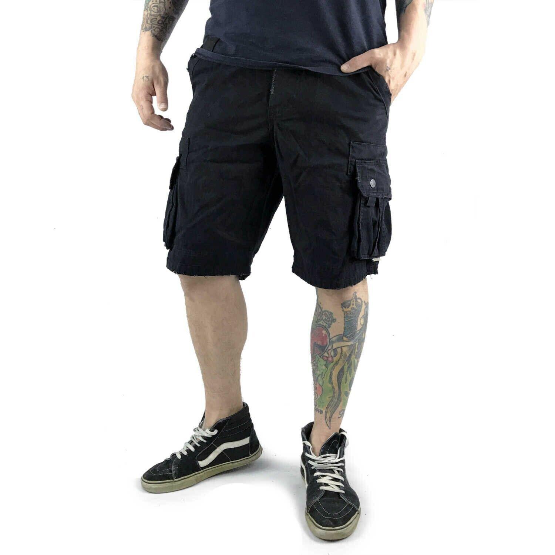 Yakuza-Cargo Shorts cod 10060  SKULL label  nero (NERO)