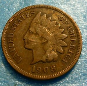 1908-Indian-Head-Penny-Cent-Coin-W08-Better-Grade