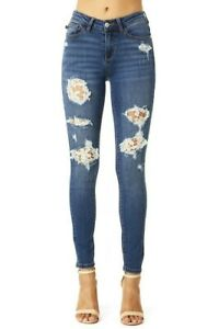 Judy-Blue-Lace-Patch-Skinny-Denim-Jeans-0-1-3-5-7-9-11-13-15-16-18-NWT