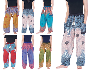 Harem Pants Flowy Yoga Trousers With Drawstring Hippie Baggy Rayon Thai Clothing Ebay