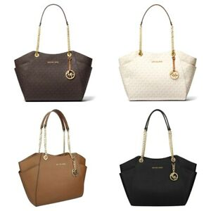 Details zu NWT Michael Kors JET SET TRAVEL Large Leather Signature Chain Shoulder Tote Bag