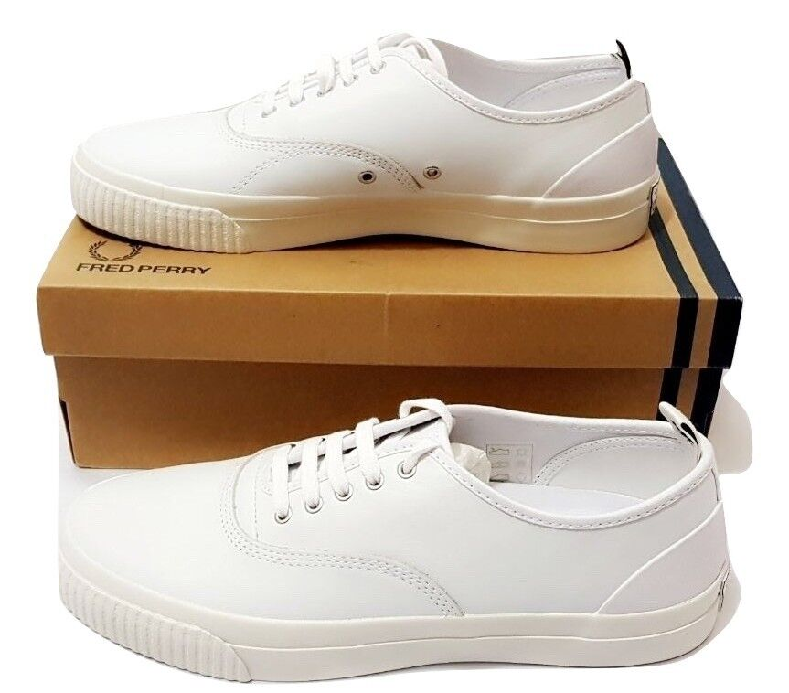Fred Perry Men's New Casual Vulc Leather Shoes Trainers B9127-100 - White