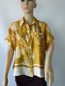 River-Island-Satin-Retro-Boho-Casual-Work-Chic-Button-Up-Blouse-Shirt-Size-S