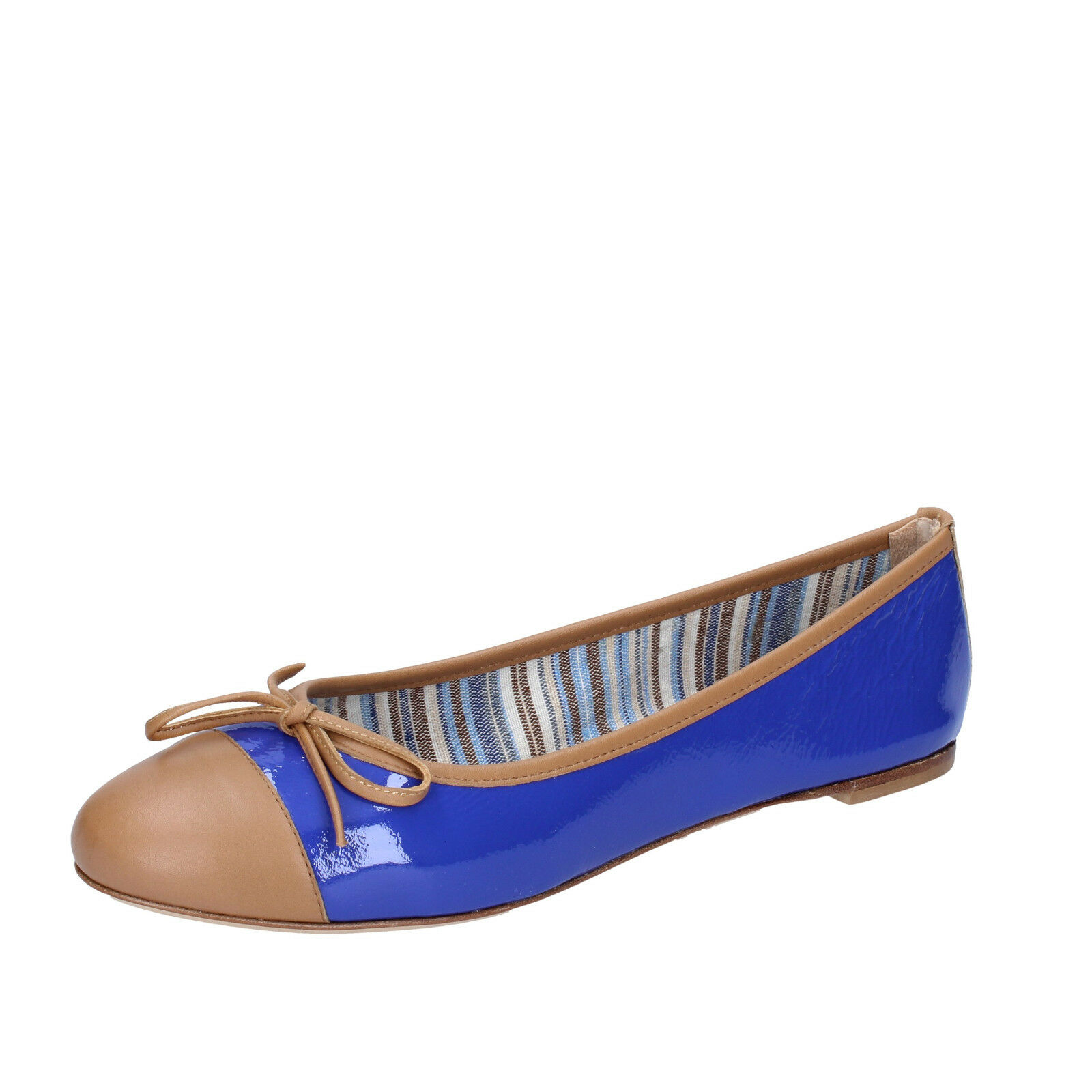 Womens shoes 18 KT 4 (EU 37) flats bluee brown patent leather BS167-37